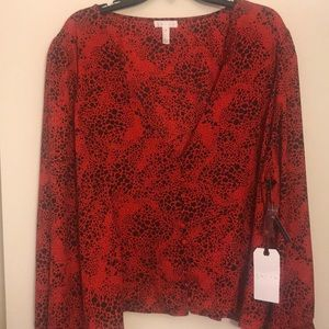 NWT Leith red and black dress shirt, long sleeves
